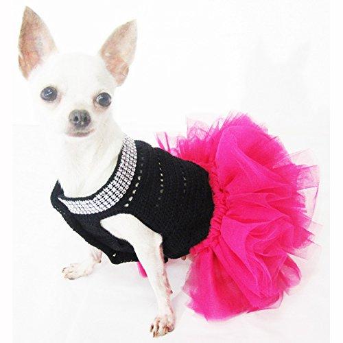 Cute Black Pink Dog Tutu Dresses With Bling Bling Handmade Crochet