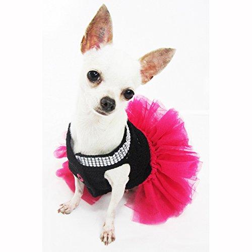 Cute Black Pink Dog Tutu Dresses With Bling Bling Handmade