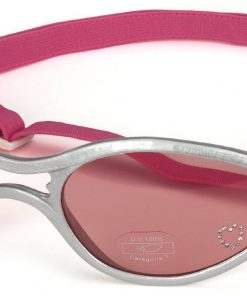 Doggles K9 Optix Shiny Silver Rubber Frame with Pink Lens Sunglasses, X-Small