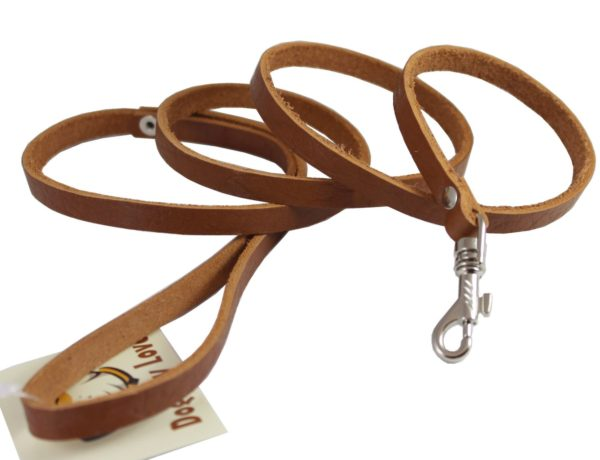 4 Genuine Leather Classic Dog Leash 3-8 Wide, Puppies, Miniature Poodle, Chihuahua 3