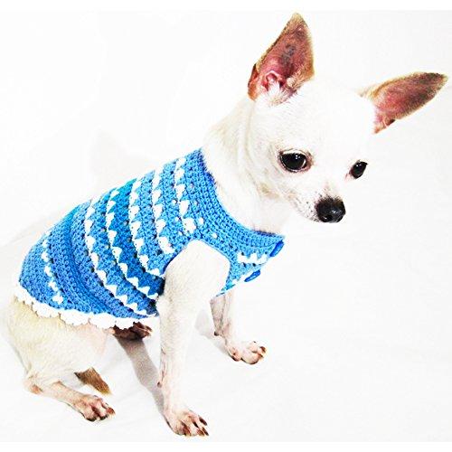 Blue Dog Clothes Handmade Crochet Unique Pet Clothing Chihuahua