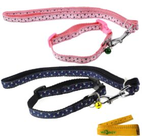 Cool Gentle Cat Kitten Dog Puppy Leading Leash and Collar Set Anchor Images for Cats Dogs Pets, 2 Pack