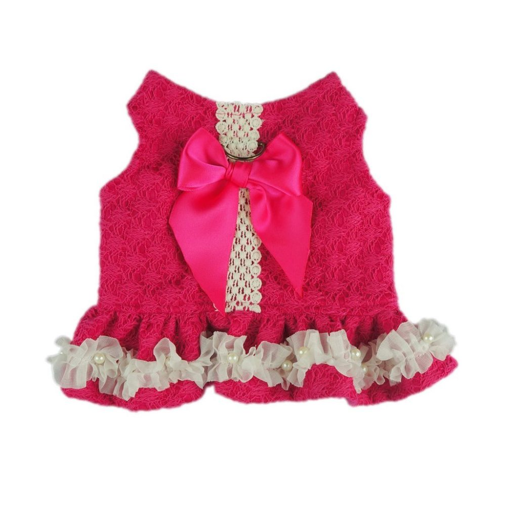 Fitwarm Stylish Lace Pet Clothes Dog Dress Harness D Ring