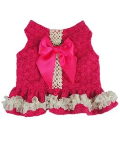 Fitwarm Stylish Lace Pet Clothes Dog Dress Harness D Ring Shirts Vest, Pink
