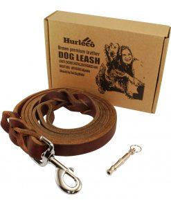 Hurleco Military Grade Leather Dog Training Leash Set - Brown