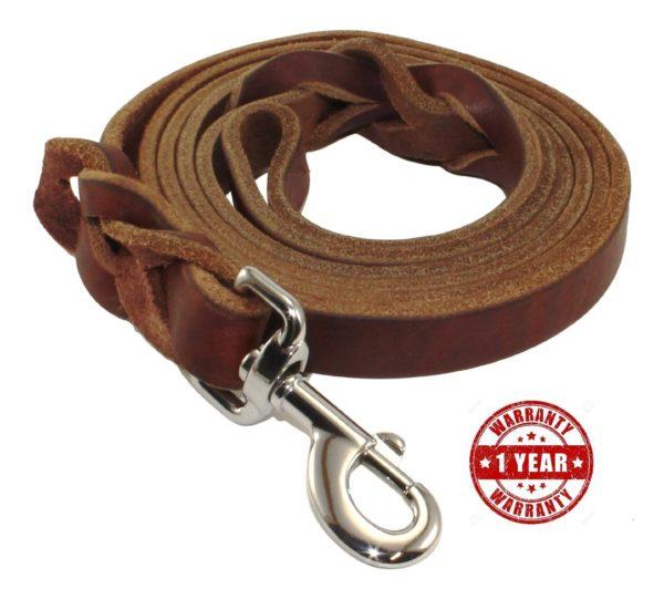 Hurleco Military Grade Leather Dog Training Leash Set - Brown 3