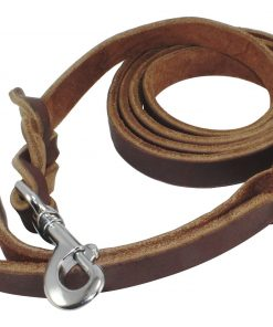 Hurleco Military Grade Leather Dog Training Leash Set - Brown 7