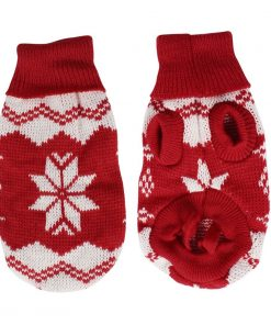 Pet Dog Cat Red White Snowflake Pattern Sleeves Sweater Apparel XXS