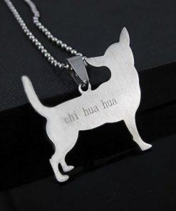 Stainless Steel Chihuahua Silhouette Dog Silhouette Pet Dog Tag Breed Collar Charm Pendant Necklace 2