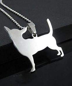 Stainless Steel Chihuahua Silhouette Dog Silhouette Pet Dog Tag Breed Collar Charm Pendant Necklace