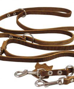 Tan 6 Way European Multifunctional Leather Dog Leash