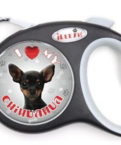 iLeesh i Love My Black Chihuahua Retractable Leash, Black