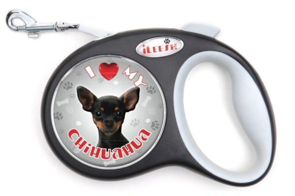 iLeesh i Love My Black Chihuahua Retractable Leash, Black