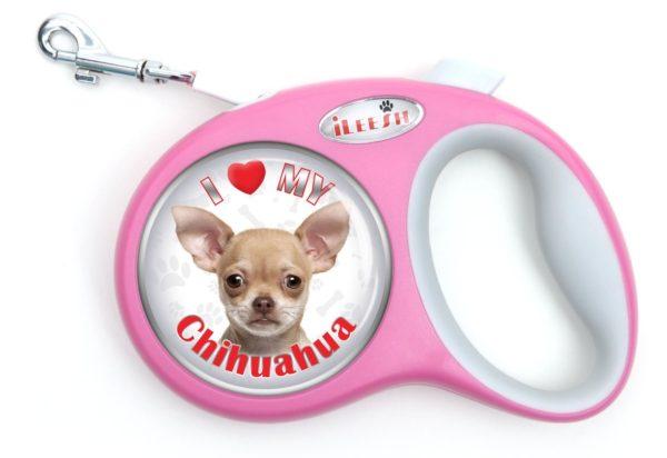 iLeesh i Love My Chihuahua Retractable Pink Leash