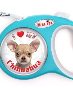 iLeesh i Love My Chihuahua Retractable Turquoise Leash