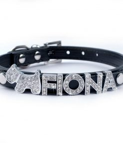 Didog Personalized Soft PU Leather Small Dog Collars with Customized Crystal Rhinestones Name & Charms