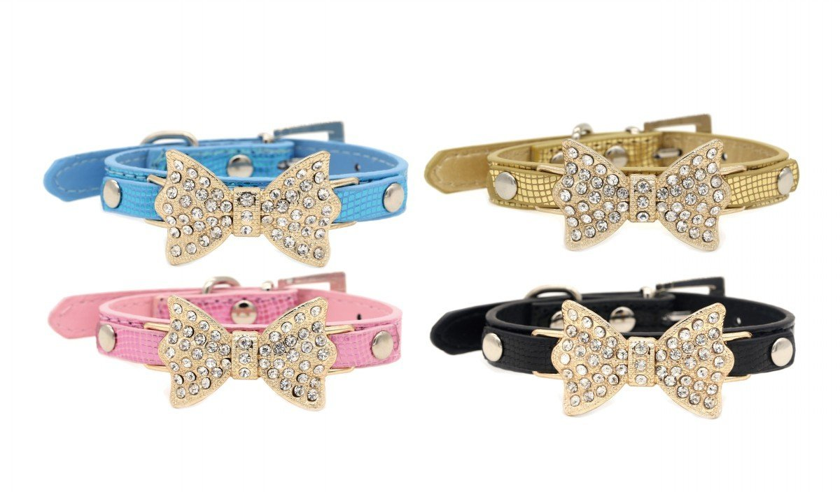 Chihuahua Yorkie Clothes Accessories Costume Outfits PetFavorites Bling Rhinestone Lace or Kimono Bow Tie Cat Dog Collar with Bell for Small Dogs Female Kitten Adjustable Buckle and Handmade