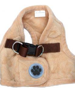 Lovely Heart Print Warm Fleece Pet Harness Vest Puppy Harnesses for Small Dogs Cats Kitten ,Small Beige