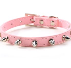 Puppy-league® Pu Leather Solid Pattern Single Rows Bullet Nail Studded Dog Collars Chain for Pet Dogs Chihuahua