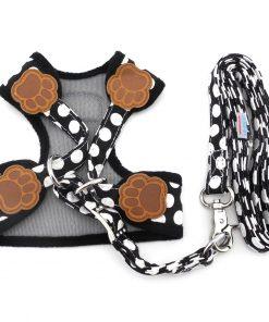 SMALLLEE_LUCKY_STORE New Soft Mesh Nylon Vest Pet Cat Small Medium Dog Harness Dog Leash Set Leads S M L 2
