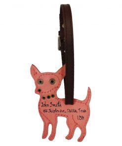 Chihuahua Dog Handmade Genuine Leather Luggage Tag Keychain 2