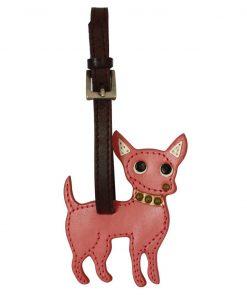Chihuahua Dog Handmade Genuine Leather Luggage Tag Keychain