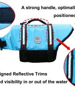 Vivaglory Dog Life Jacket Size Adjustable Dog Lifesaver Safety Reflective Vest Pet Life Preserver 2
