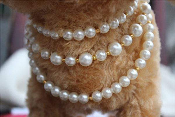 3 Sizes Handmade Cat Dog Necklace Jewelry 3 Layers with Bling Pearls Gorgeous for Pets Cats Puppy Dogs Puppy Chihuahua Yorkie Girl Costume Outfits 2
