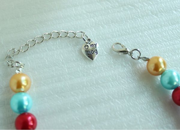 3 Sizes Handmade Cat Dog Necklace Jewelry with Bling Rhinestone Colorful Pearls Gorgeous for Pets Cats Puppy Dogs Puppy Chihuahua Yorkie Girl Costume Outfits 4
