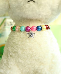3 Sizes Handmade Cat Dog Necklace Jewelry with Bling Rhinestone Colorful Pearls Gorgeous for Pets Cats Puppy Dogs Puppy Chihuahua Yorkie Girl Costume Outfits 5