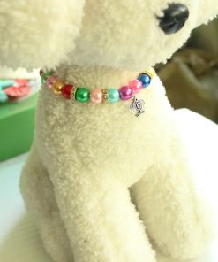 3 Sizes Handmade Cat Dog Necklace Jewelry with Bling Rhinestone Colorful Pearls Gorgeous for Pets Cats Puppy Dogs Puppy Chihuahua Yorkie Girl Costume Outfits 6