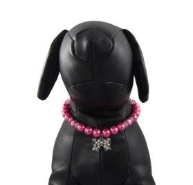 Alfie Couture Designer Pet Jewelry - Kon Pearl Necklace with Ribbon Rhinestones Charm for Dogs and Cats 2