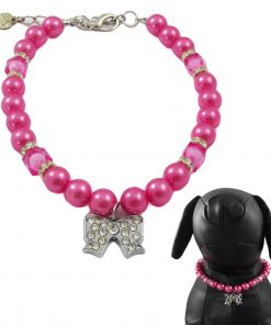 Alfie Couture Designer Pet Jewelry - Kon Pearl Necklace with Ribbon Rhinestones Charm for Dogs and Cats