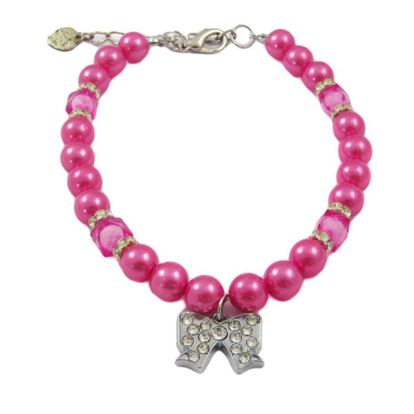 Alfie Couture Designer Pet Jewelry - Kon Pearl Necklace with Ribbon Rhinestones Charm for Dogs and Cats 3