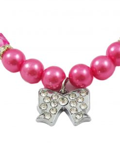 Alfie Couture Designer Pet Jewelry - Kon Pearl Necklace with Ribbon Rhinestones Charm for Dogs and Cats 4