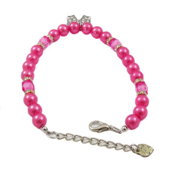 Alfie Couture Designer Pet Jewelry - Kon Pearl Necklace with Ribbon Rhinestones Charm for Dogs and Cats 5