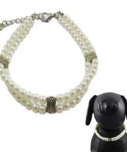 Alfie Couture Designer Pet Jewelry - Nea Double Layer Pearl Necklace for Dogs and Cats