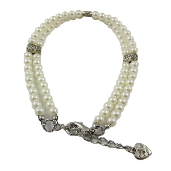 Alfie Couture Designer Pet Jewelry - Nea Double Layer Pearl Necklace for Dogs and Cats 4