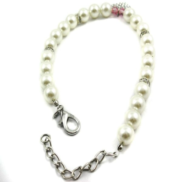 Alfie Couture Designer Pet Jewelry - Pinky Crystal Heart Pearl Necklace for Dogs and Cats 3