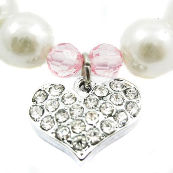 Alfie Couture Designer Pet Jewelry - Pinky Crystal Heart Pearl Necklace for Dogs and Cats 4
