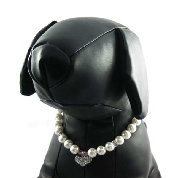 Alfie Couture Designer Pet Jewelry - Pinky Crystal Heart Pearl Necklace for Dogs and Cats 6