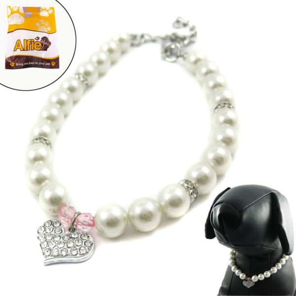 Alfie Couture Designer Pet Jewelry - Pinky Crystal Heart Pearl Necklace for Dogs and Cats