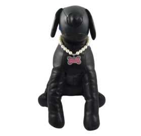 Alfie Couture Designer Pet Jewelry - Sue Pearl Necklace with Mini Photo Frame Charm for Dogs and Cats 2