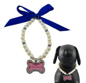 Alfie Couture Designer Pet Jewelry - Sue Pearl Necklace with Mini Photo Frame Charm for Dogs and Cats