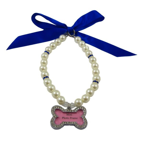 Alfie Couture Designer Pet Jewelry - Sue Pearl Necklace with Mini Photo Frame Charm for Dogs and Cats 3