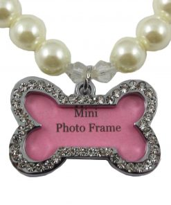 Alfie Couture Designer Pet Jewelry - Sue Pearl Necklace with Mini Photo Frame Charm for Dogs and Cats 4