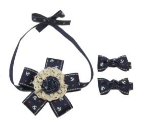 Alfie Pet Apparel by Petoga Couture - Anna Formal Ribbon Bow Necklace with Hair Clips 3-piece Set 2