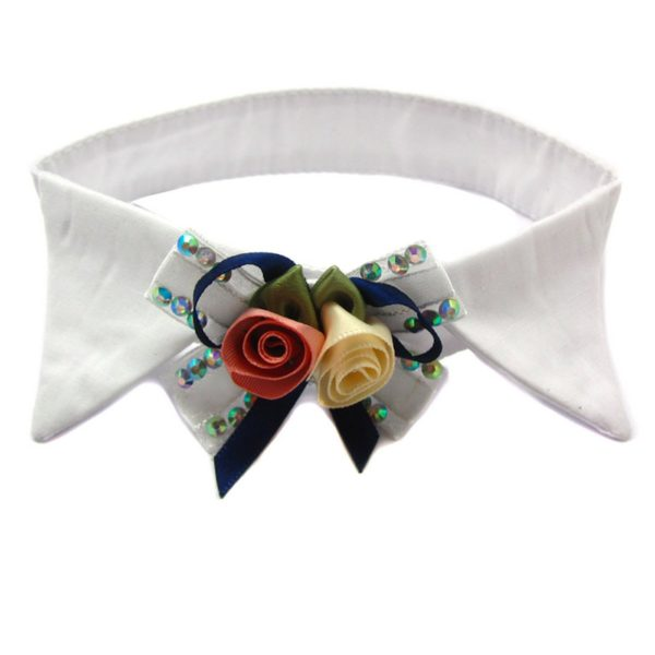Alfie Pet by Petoga Couture - Dave Bow Tie Collar for Groom and Bridal Wedding Hair Clip Set with Fabric Storage Bag 3