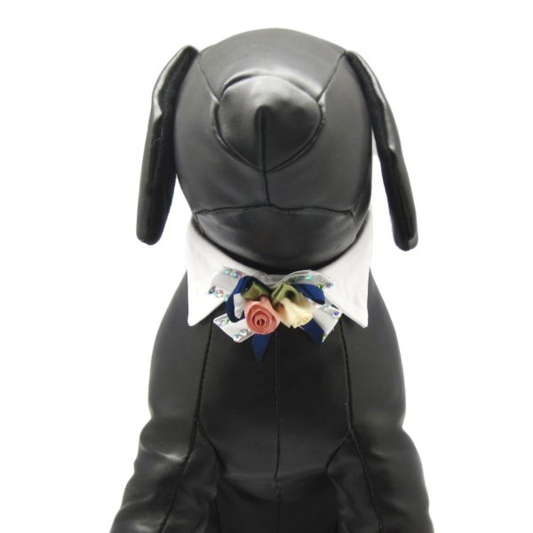 Alfie Pet by Petoga Couture - Dave Bow Tie Collar for Groom and Bridal Wedding Hair Clip Set with Fabric Storage Bag 4