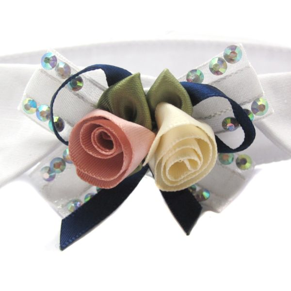 Alfie Pet by Petoga Couture - Dave Bow Tie Collar for Groom and Bridal Wedding Hair Clip Set with Fabric Storage Bag 5